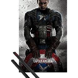 1art1® Póster + Soporte: Capitán América Póster (91x61 cm) The First Avenger, Teaser Y 1 Lote De 2 Varillas Negras