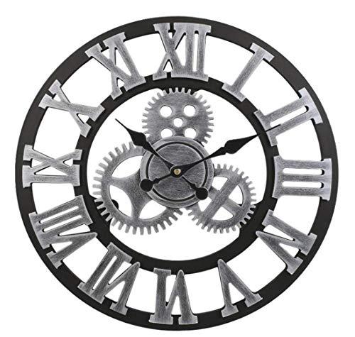SXWY Retro Engranaje 3D Reloj Pared 50 cm Madera número