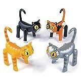 Katzen aufblasbar 4 Stück Partydekoration Kindergeburtstatg mit Palandi® Sticker