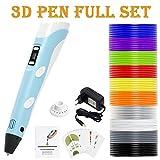 PLUSINNO 3D Drucker Stift DIY Scribbler 3D Stereoscopic Printing Pen mit LCD-Bildschirm + 13 PLA Filament (10 10 Papier Modelle für die Praxis der EU(Blau)