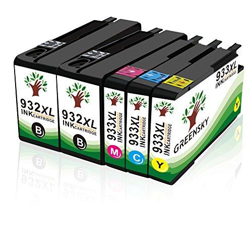 GREENSKY 5 paquets Remplacement de cartouche d'encre compatible HP 932 933 932XL 933XL Convient pour HP Officejet 6100 6600 6700 7110 7510 7610 7612 Printer - (2 Noir, 1 Cyan, 1 Jaune, 1 Magenta)