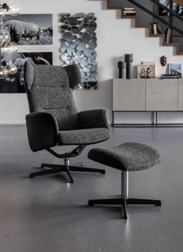 Kare Drehsessel mit Hocker Ohio Salt And Pepper, 79945, Designer Loungesessel zum Chillen,...
