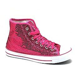 Unbekannt Pailletten Schuhe Pink Glitzer 36-42 Damen & Herren Designer Schnürer (38)