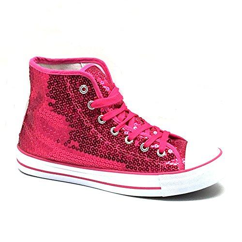 Schuhe Pink Glitzer 36-42 Damen & Herren Designer Schnürer (37) ()