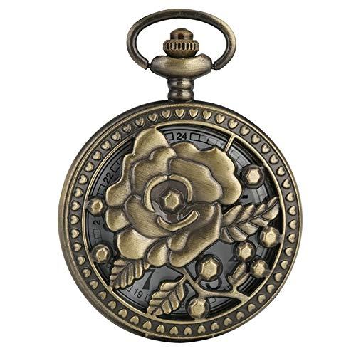 SDVIB Taschenuhr Antike Bronze Rose Blumen Durchbrochene fünf Spitzen Flower Cover Floral Rattan Taschenuhr Hohle Halskette Anhänger Art Collection, Rose Flower