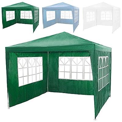TecTake Pavillon Partyzelt Gartenzelt Eventpavillon 3x3m mit 3 Seitenteile - diverse Farben -