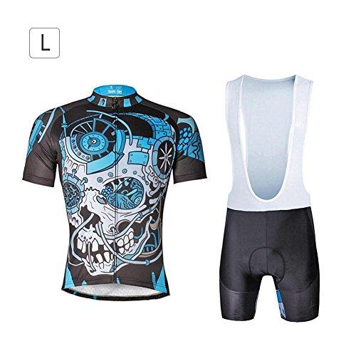 Herren Atmungsaktiv Radfahren Jersey Kurzarm Bike Biking-Shirt-Oberteil mit 3D Padded Bib Shorts Set Reitsportkleidung