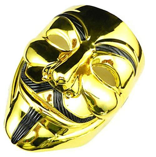 DAXINYANG Cosplay Maske V Wie Vendetta Maske Anonym Halloween Maskerade Cosplay Maske Party Kostüm Prop,Gold