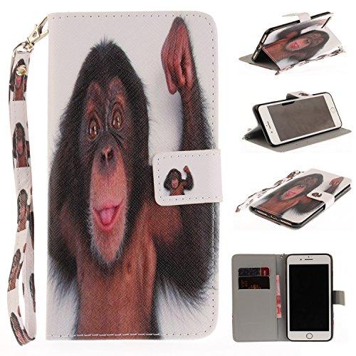 iPhone 7 Plus Hülle, iPhone 8 Plus Hülle, iPhone 7 Plus/ 8 Plus Lederhülle, iPhone 7 Plus / iPhone 8 Plus Brieftasche, BONROY Tier Muster Niedlich Komisch Ledertasche Handyhülle Kunstleder Tasche Wall Affe