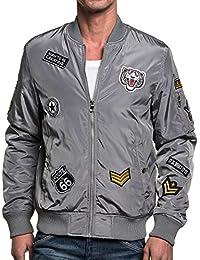Gov Denim - Blouson bomber homme gris avec patchs