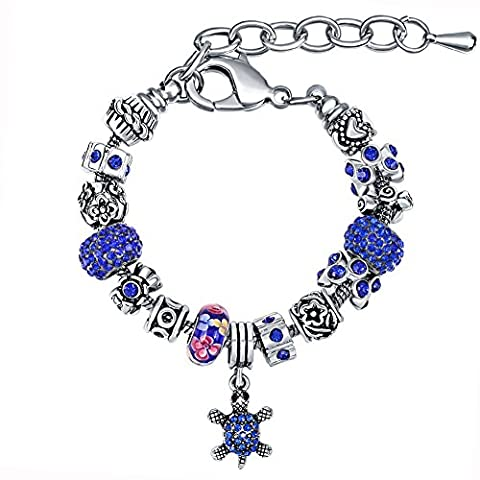 MANBARA Sea Turtle Women Charm Bracelet Sapphire Color with Crystal Ball Size Length 6.7 Inch+2.0 Inch