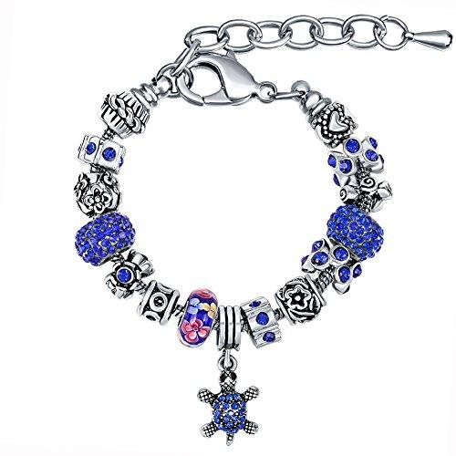 Manbara bracciale da donna in cristallo blu con ciondolo a tartaruga 500de (blu)