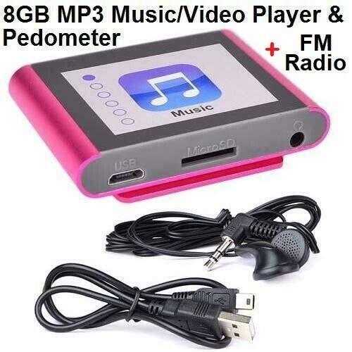 FidgetKute Eclipse Fit Clip Plus PK 8 GB MP3-Digital-Musik/Video-Player 1,8 Zoll LCD+Schrittzähler + FM