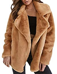 ZahuihuiM Femmes Manteau d hiver Garder au Chaud vêtements de Dessus lâche  Grand Collier de Fourrure Manteau Manteau Revers… 40fec3cdf430