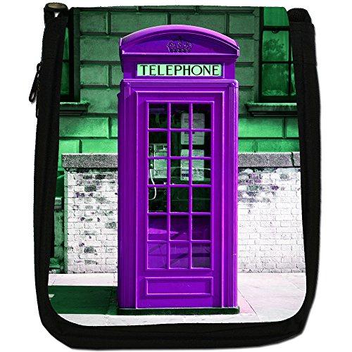 La cabina telefonica londinese, colore: nero, Borsa a spalla in tela da uomo, taglia media Purple