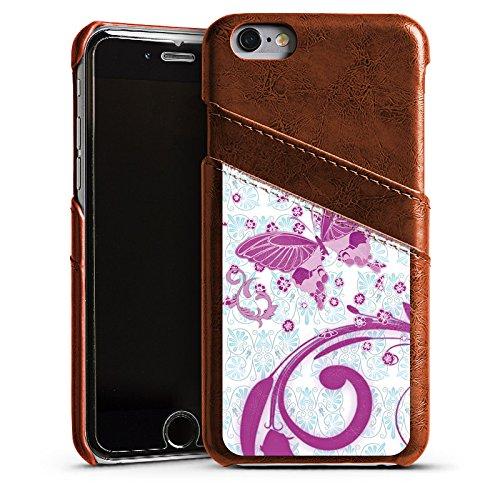 Apple iPhone 5s Housse étui coque protection Rose vif Papillon Papillon rose Étui en cuir marron