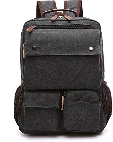 &ZHOU Borsa di tela, Protezione ambientale tela borsa zaino borsa moda casual borsa a tracolla borsa computer borsa da viaggio, unisex , coffee color Black