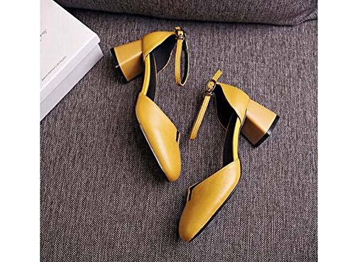 Beauqueen Scarpin Matte Leder Low Heel Knöchelriemen Mädchen Frauen Pumpe Casual Flat Elegant Shallow Schuhe Europa Größe 34-39 Yellow