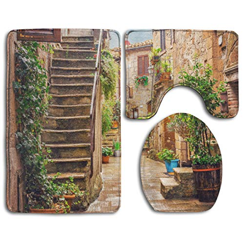 stal Mat+Toilet Seat Cover 3 Piece Set Non Slip Bathroom Rug Mat,View of An Old Mediterranean Street with Stone Rock Houses In Italian City Rural Culture Print,Anti-Slip Mat ()