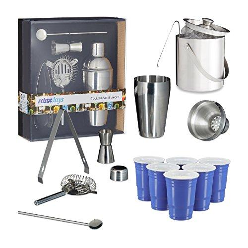 Set, für Hobby Barkeeper, mit Shaker, Eiszange, Abseiher, Barmaß, Eiseimer, Löffel, Getränkebecher (Einweg-eis-eimer)