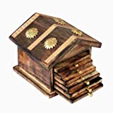 #6: Worthy Shoppee Wooden & Brass Antique Hut Shape Coaster Set Home Decor Gift Item