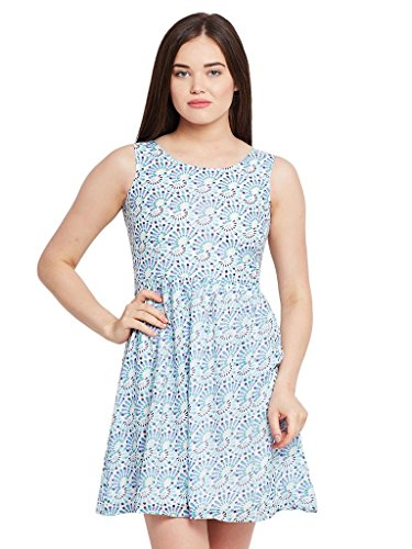 The Vanca Women Front cut out flared dress in blue print with gathers at waist  available at amazon for Rs.304
