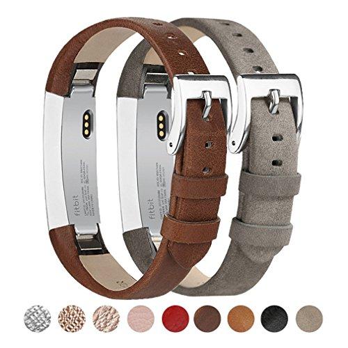 Fitbit Alta Armband Tobfit Fitbit Alta HR Armbänder Lederarmband Edelstahl Schnalle Erstazarmbänder für Fitbit Alta und Fitbit Alta HR (Kaffee & Grau)