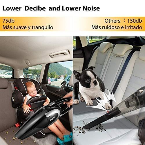 Aspirador de coche, Bagotte 5000 pa succión húmedo y seco 120W 75db de poco ruido Aspirador portátil de mano portátil