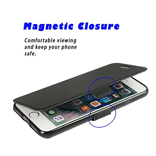Coque iPhone 6s Plus, Coque iPhone 6 Plus, MTRONX Case Cover Etui Housse Cas Couverture Ultra Slim Folio Flip Magnetic PU Cuir Doux TPU Sergé Soutien étagère pour Apple iPhone 6s Plus iPhone 6 Plus -  Noir