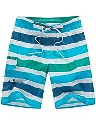PZLL Surf de verano hombres rápida cortocircuitos de la playa seca, cortocircuitos de la playa casual sueltos hombres, cortocircuitos de la resaca de secado rápido , blue and green stripes , m