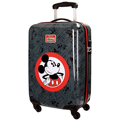 Disney Hello Mickey Equipaje Infantil, 55 cm, 35 Litros, Negro
