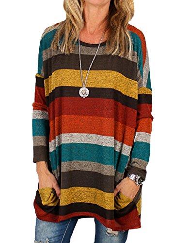 Minetom Damen Langarmshirt Spleiß Farbe Streifen Gestreift Rundhals Shirt Tops Bluse Mode Komfortabel Elegant Oberteile Frühling Herbst Gelb DE 44 -