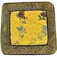 Wukong Paradise Damasco Bordado Coaster Mat Mat Tea Mats Mesa Runner Tea Accessories-A10