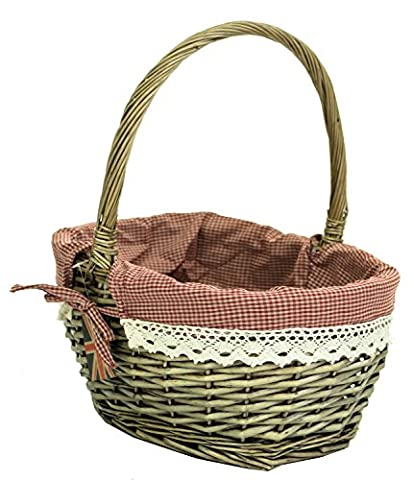 east2eden Traditional Brown Wicker Shopping Basket Shopper Storage Display with Gingham Lace Lining in Choice of Sizes & Deals