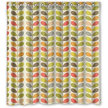 Colorful Orla Leaves Kiely Custom Personalized Waterproof Shower Curtain Bathroom Curtains Bath 60x72 Inches