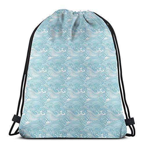 0e94c4ea9056 Drawstring Tote Bag Gym Bags Storage Backpack, Japanese Style Oceanic Waves  Splashing Water Swirls Aquatic Artful Pattern,Very Strong Premium Quality  ...