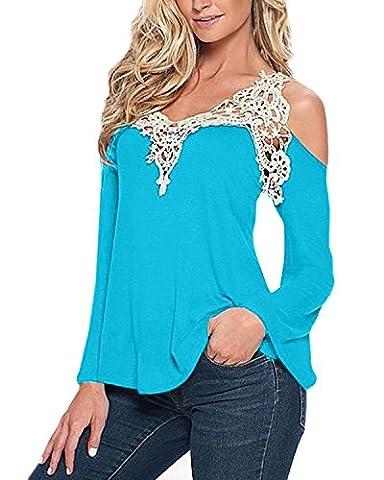 IHRKleid Femmes bretelles Tops Dentelle Crochet cave blouse manches longues automne (5X-Large, Bleu1)
