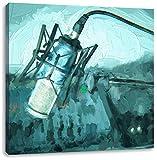Mikrofon mit Musikanlagen Pinsel Effekt, Format: 70x70 auf Leinwand, XXL riesige Bilder fertig gerahmt mit Keilrahmen, Kunstdruck auf Wandbild mit Rahmen, günstiger als Gemälde oder Ölbild, kein Poster oder Plakat