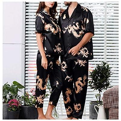 AXIANQIPJS Pijamas De Satén para Parejas Conjunto Pijamas De Manga Corta con Cuello En V Negro M-3XL