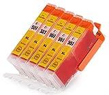 5 Multipack komp. XL Druckerpatronen für Canon Pixma MG7550 MG7150 MG6650 MG6450 MG6350 MG5655 MG5650 MG5550 MG5450s MG5400 MG5450 IP7250 IP8750 IX6850 MX725 MX925 kompatibel 5 x 551Y XL gelb mit Chip