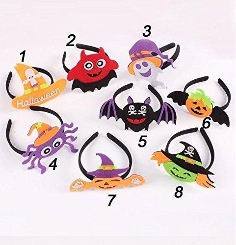 UChic 8 Teile / los Stirnband Hexe Kürbis Elf Schädel Fledermaus Headwear für Halloween Party Cosplay Kostüm Baby Kinder Kleinkinder Frauen, Packung mit 8