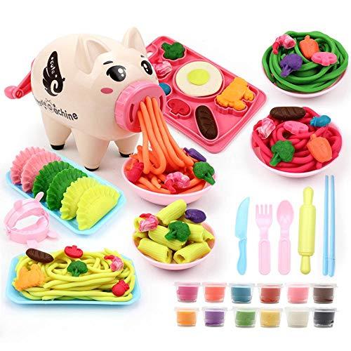 n Teig Sets, Knetmasse Sets Mädchen 29 PCS Dekorieren Party Spielen Essen Spielzeug Set pädagogische Küche Spielzeug handgemachte Kreationen Schwein Nudeln Maschine Set ()