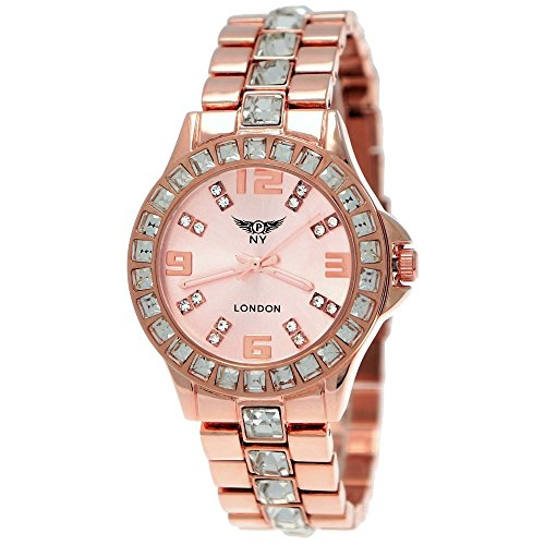 Elegante Ny London Designer Damen-Uhr Strass Analog Quarz Armband-Uhr in Rose-Gold