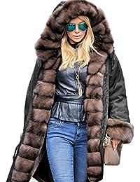 236d10f66a09 Roiii® Frauen Winter warme Dicke Kunstpelz mit Kapuze Parka Fleece Lange  Jacke Overcoat Größe 36