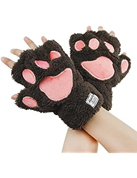 Greenery Ladies Girls Womens Cute Warm Plush Cat Paw Half-finger Fingerless Winter Gloves For Work, Typing & Touch...
