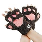 JIAHG Niedliche Bärentatzen Handschuhe Halbe Fingerhandschuhe Flauschig Winterhandschuhe Fäustlinge Dicke Handwärmer für Kinder Mädchen und Damen