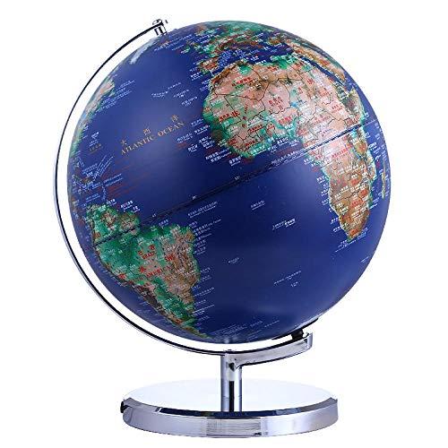 Jopjdpdsf Globus Beleuchtet,Metall 32Cm Globus Tischlampe Chinesisch Und Englisch Unterricht Hd Geprägt Konvex Und Konkav Wird Die Arbeitszimmer Dekoration Leuchten -
