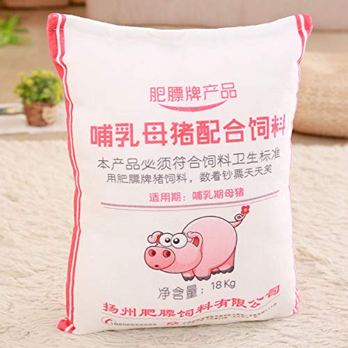 BAONZEN Cartoon lustiges Schwein Futter Kissen Plüschtier Puppe Kissen Kissen Kissen Puppe Tuch Puppe Parodie Geschenk, Schweinefutter Kissen rosa, große 35 * 50 cm