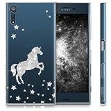 kwmobile Hülle für Sony Xperia XZ / XZs - TPU Silikon Backcover Case Handy Schutzhülle - Cover klar Einhorn Design Silber Transparent -