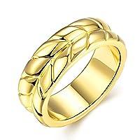 Lekima Copper Ring Wheat Massif Leaf Charm Elegant Jewellery Gift For Girls Lady Women - Gold #V 1/2 (Gift Bag Included)
